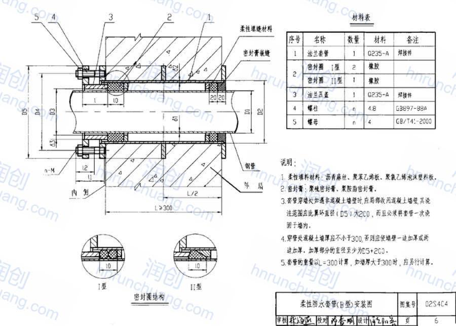 柔性防水套管比管道大几号(图1)