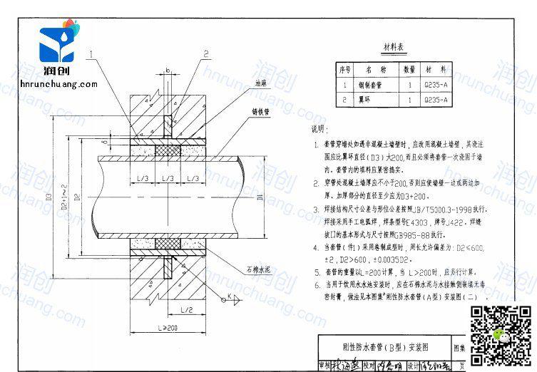 刚性防水套管设计图纸B型(图3)