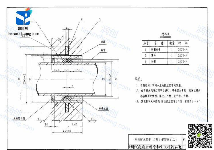 刚性防水套管设计图纸A型(安装图二)